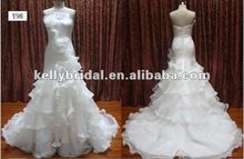 White Wedding Dress Merimaid Ruffle Organza Skirt Sex Mother of the Bride