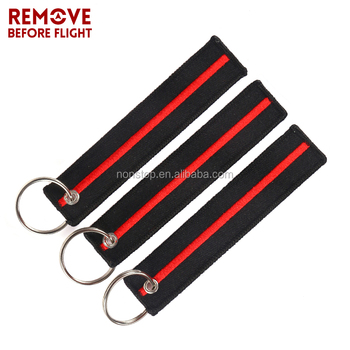 Remove Before Flight Embroidered Keychain Luggage Tag Zipper Pull Woven a25b71493e92