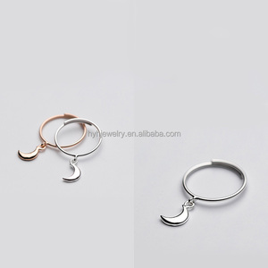 IN STOCK!!! fashion jewelry wholesale adjustable rings plain sterling silver pendant moon ring designs for female