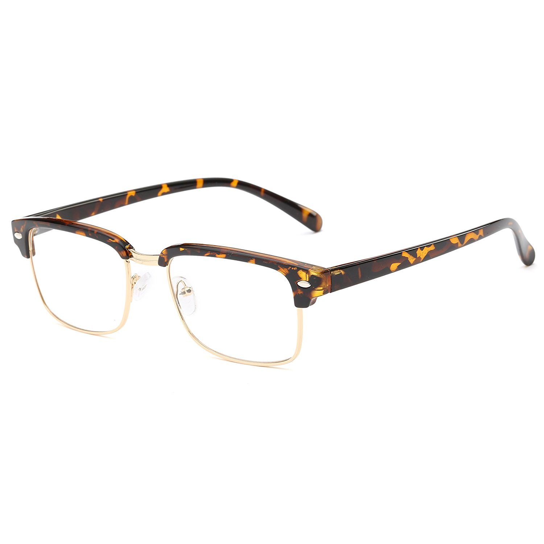 c7ef223519 Get Quotations · Simvey Classic Retro Inspired Half Frame Nerd Horn Rimmed Eyeglass  Frames