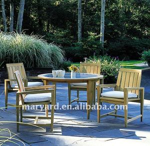 Modern Outdoor Patio Teak Wood Furniture Wooden Round Dining Table and Chairs Set