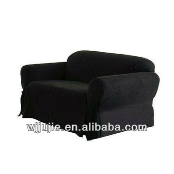 Soft Micro Suede Solid Black Loveseat Cover Slipcover With