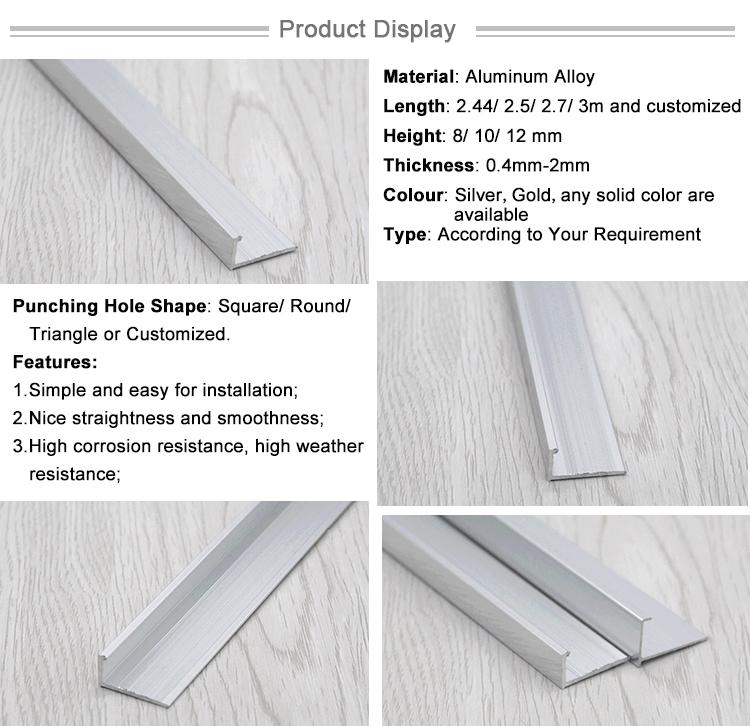 المصنع مباشرة توريد اللون الفضي L شكل حواف زخرفية للبلاط من الألومنيوم الشخصي