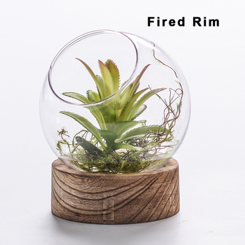 Glass Vases Wholesale Cheap Round Ball Terrarium With Wood Base For