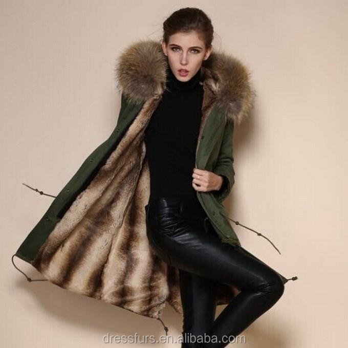 Real Rabbit Fur Coat/newest Design Women Coat/army Parkas - Buy