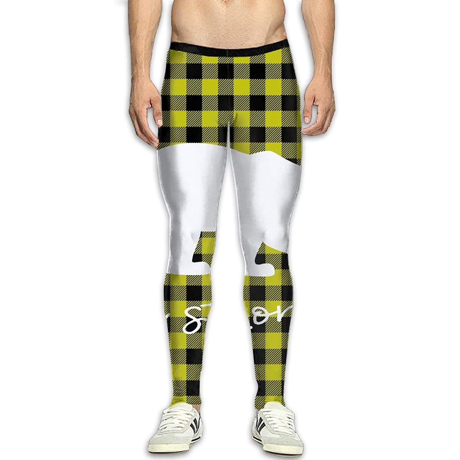 6db2d7a23897c0 Get Quotations · Virgo Plaid Bear Buffalo Smooth Compression Pants/Running  Tights Baselayer Pants Men Male Spandex