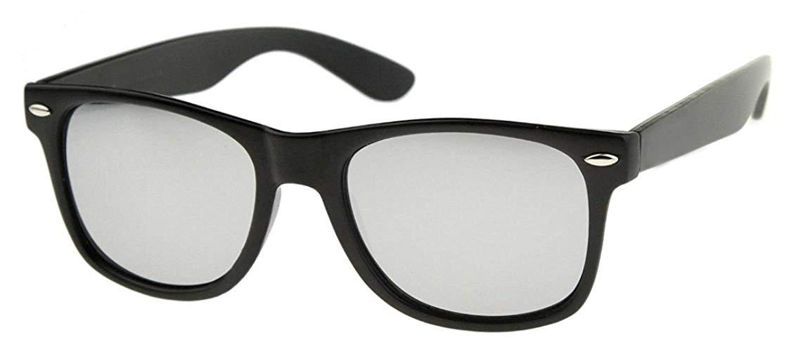 Sunglasses Classic 80's Vintage Style Design (Matte Black, Silver Mirror)