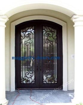 Eyebrow Arch Wrought Iron Double Door Steel Entry Door Front Double Main  Door Design