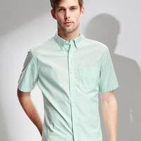 Yarn dyed poplin one pocket short sleeve mens shirt