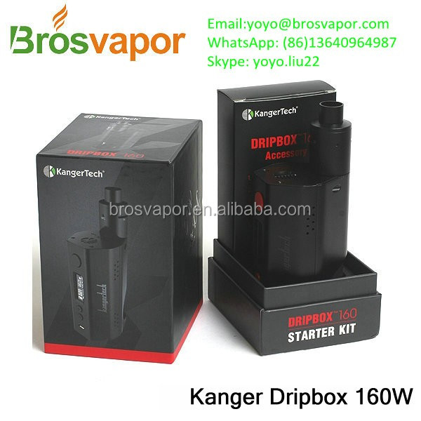 In Stock! Kangertech Dripbox 160W Starter Kit Ecigarette with 7ml RBA Tank with Mouth to Lung Coil Kanger Dripbox 160 Kit