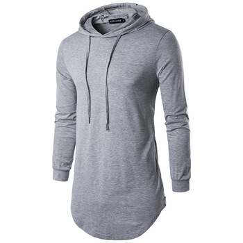 Custom Longline Hoodie Mens Curved Hem Lightweight Gym Cotton Side Zipper Long Sleeve Hoodies