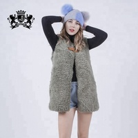 2018 hot sale korean fashionable style women genuine leather sheepskin vest customized color wool fur coat