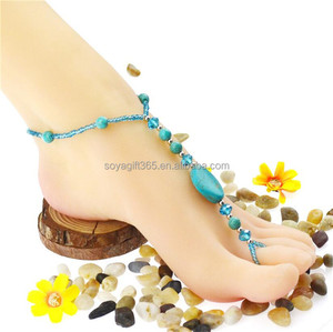 Women's Turquoise Beads Beach Barefoot Sandal Foot Ring Jewelry Anklet