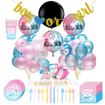Gender Reveal Party Supplies With The Original Gender Reveal Balloon, Boy or Girl Banner Decoration