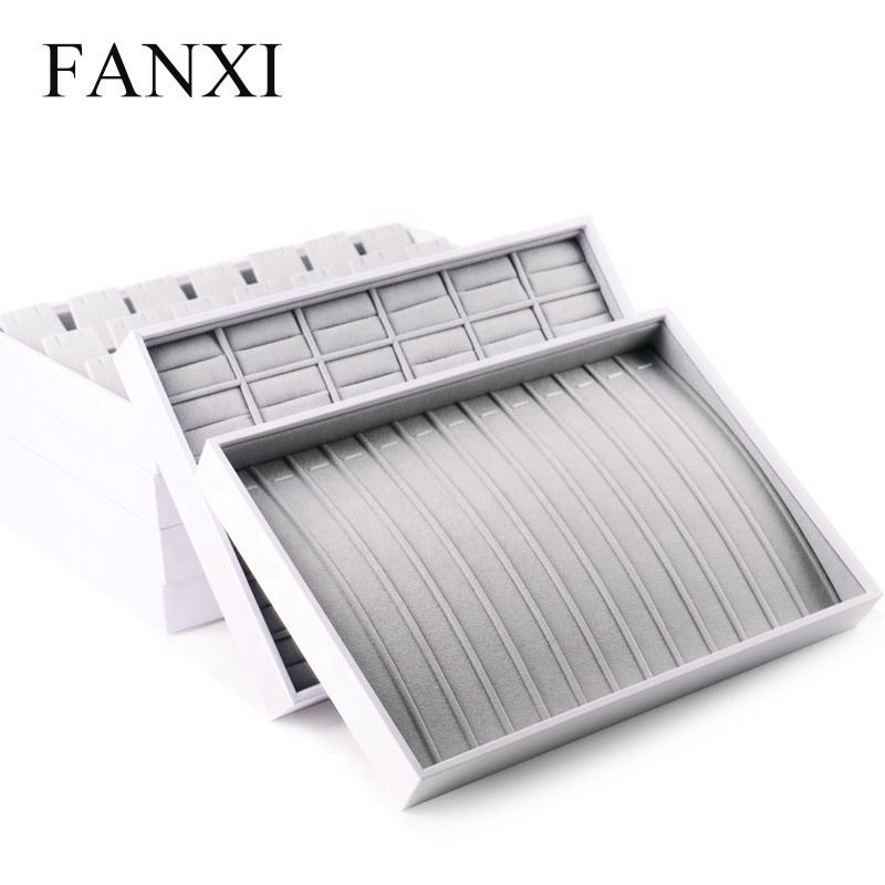 FANXI Custom Wholesale Stackable Leather Necklace Jewellery Organizer Packing Bracelet Jewelry Tray, White available for jewelry display tray