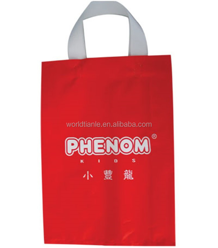 wholesale LDPE shopping soft loop handle plastic bag with one color printing