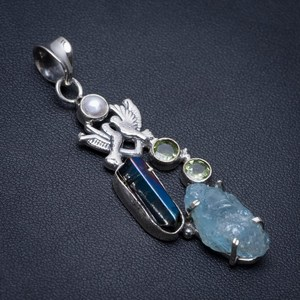 Natural Dyed Crystal,Peridot,Pearl and Rainbow Drusy Cluster Pigeon 925Silver Pendant 2 1/4""