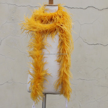 Retail murah Dicelup syal kuning ostrich feather <span class=keywords><strong>boa</strong></span> untuk <span class=keywords><strong>halloween</strong></span> festival