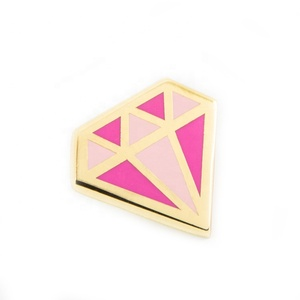 Popular OEM metal diamond shape gold enamel lapel pin badge