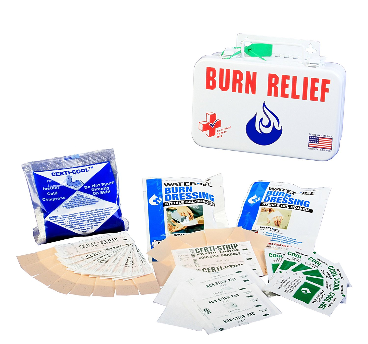 Certified Safety K612-134 10PW Burn Relief First Aid Kit in Poly White