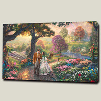Thomas Kinkade Fairy Tale Series Light Up Wall Hanging Canvas Art Painting With LED Light