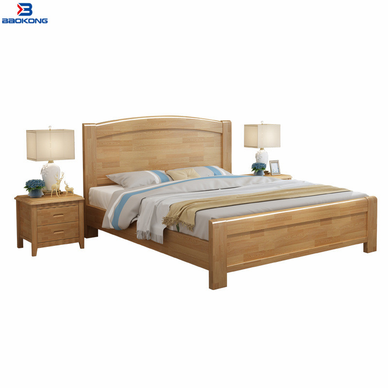 Latest Design Simple Solid Wood Furniture Wooden Double Bed Designs With Box In