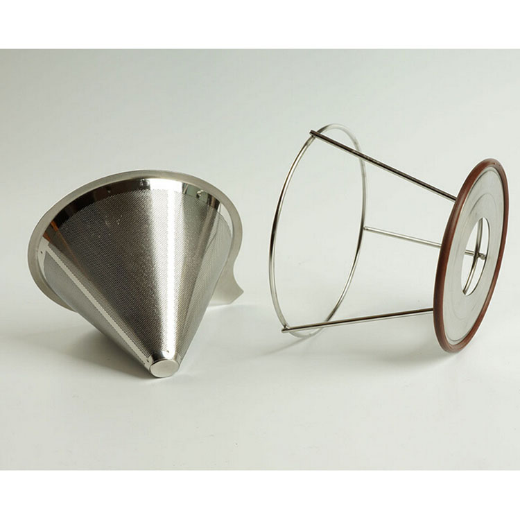 Cone shape stainless steel coffee filter with stand(from direct factory)