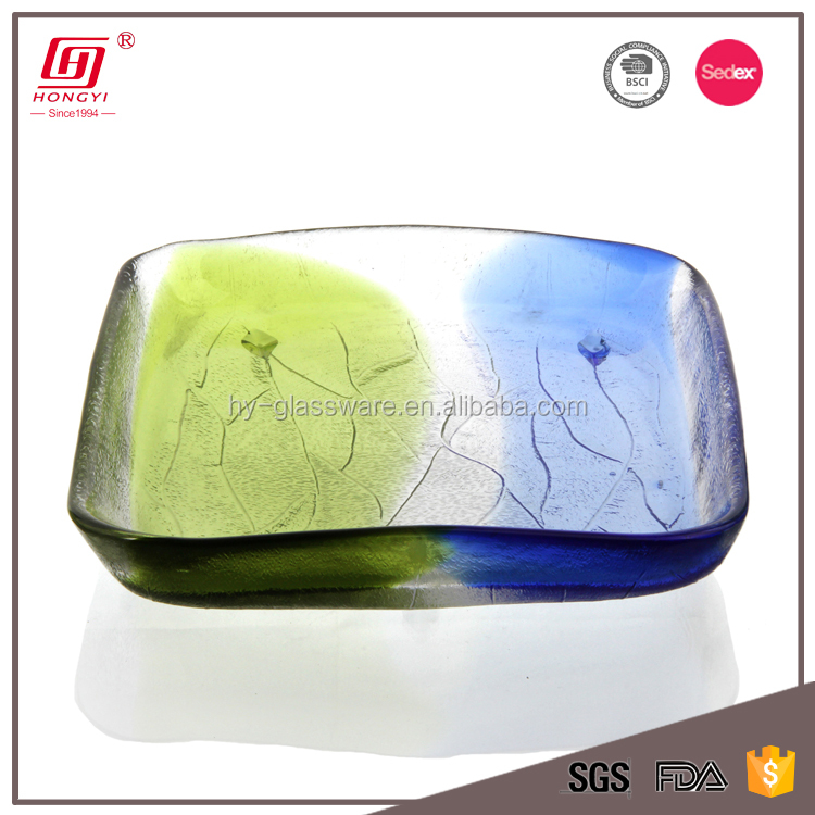 Wholesale cheap large multicolored decorative rectangle glass fruit plate