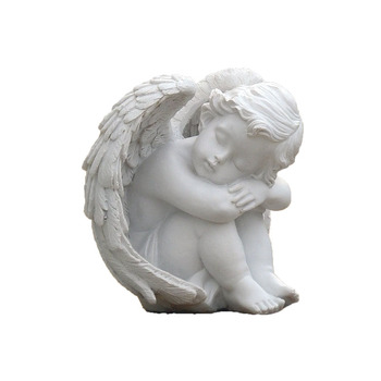 Cathedral Angel Decoraton Figurine Peaceful Pure White Baby Church Statues