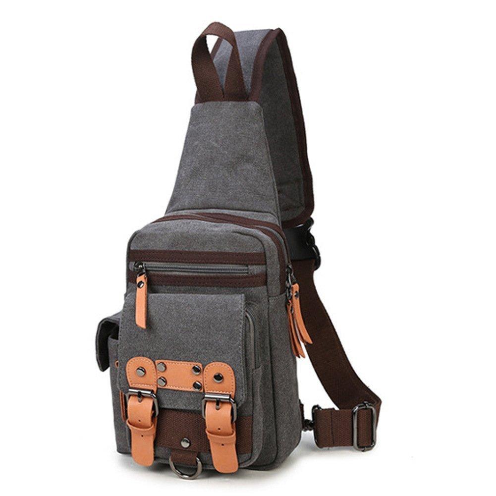 61c160f867c4 X-Bag Canvas Leather Sports Single Shoulder Chest Bag CrossBody HandBag  Backpack Travel Sling Rucksack