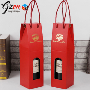 custom high quality red color gold logo print clear window wine paper carry bag