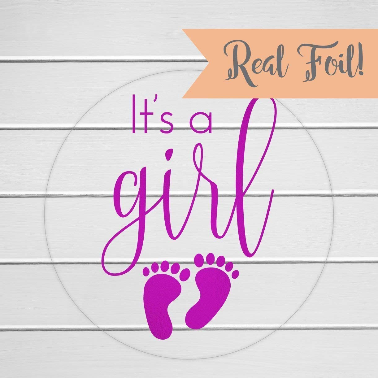 "60 - 1"" Foiled It's a Girl Stickers, Baby Shower Stickers (#372-G-CF)"
