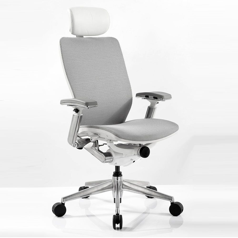 """IC2 Mesh White Shell Ergonomic Computer Chair with Headrest Dimensions: 25.5-27.5""""W x 28""""D x 45-52""""H Seat Dimensions: 19""""Wx17-19""""Dx16-21""""H Silver Mesh Fabric /White Poly Shell/Chrome Arms & Base"""