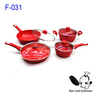 Chinese Red Stone Marble Coated Excilon Ceramic Coating Forged Cooking Set