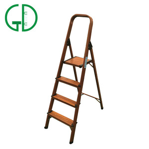 Morden Design Wooden Aluminium Folding 2/3/4 Steps Household Kitchen Ladder