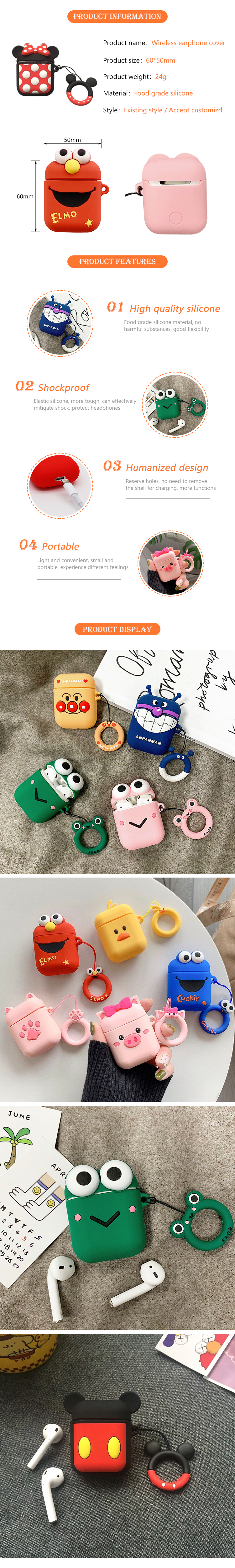Cheapest Silicon Cute 3D Cartoon wireless earphone carrying case for adults