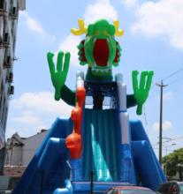 Chinese green dragon giant mobile inflatable water slide wahoo inflatable water slide