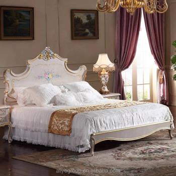 China King Size Solid Wood Bedroom Furniture And Luxury Velvet Royal Bed Room Set