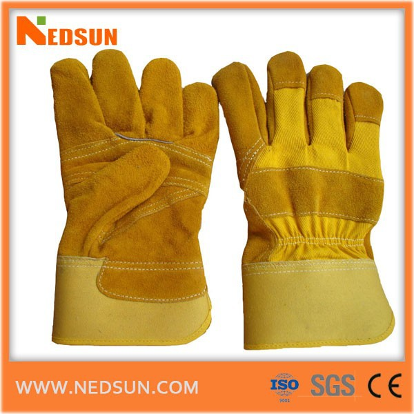 Protective cow split leather hand gloves for gardening
