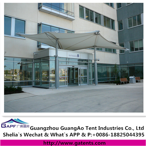 Membrane tensile fabrics enhance architecture for entrance awning