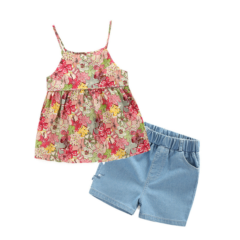 Kids summer new casual dress girls sets flowers halter+denim suit 2 pieces children wear Korean
