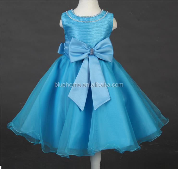 Kids Fashion Sleeveless Wedding Dresses Children Lace Big Bowknot ...