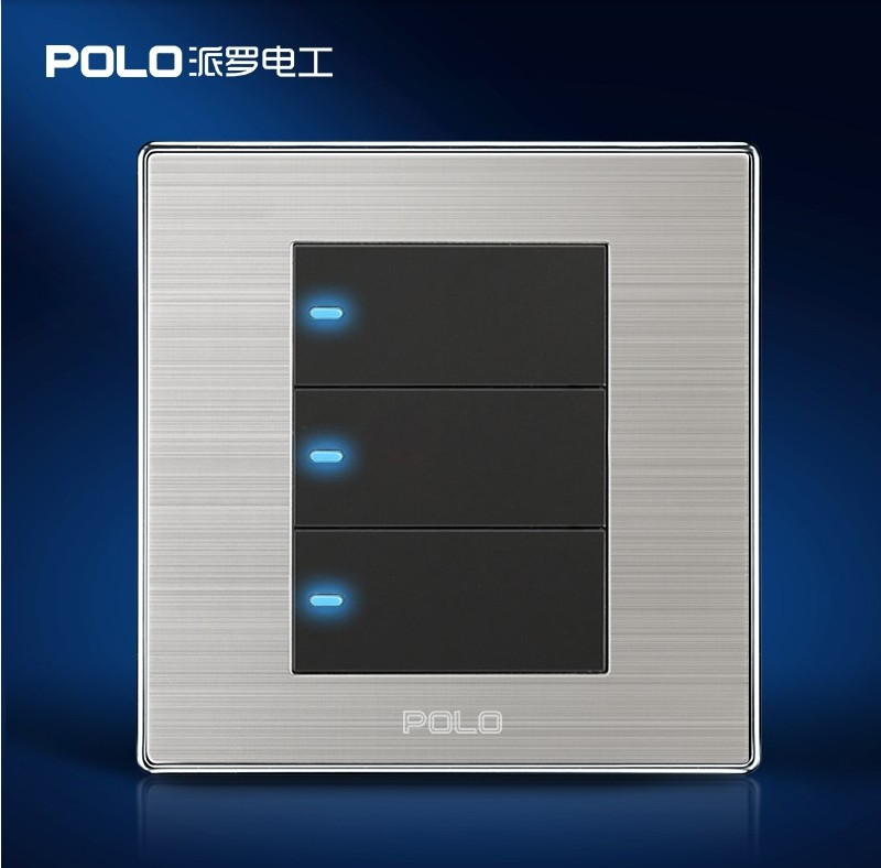 Smart Home 3 Gang 2 Way Polo Luxury Wall Switch Panel Led