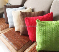 MOQ 10pcs European Pastoral Style 100% Cotton Knitted Cushion Cover Home Decorative Crochet Cushion Cover