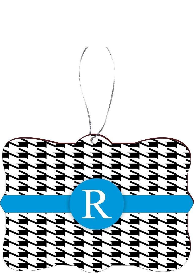 "Rikki Knight RKWS-SQORN-46370 Christmas Tree Ornament / Car Rear View Mirror Hanger Letter ""R"" Sky Blue Houndstooth Monogram Design"
