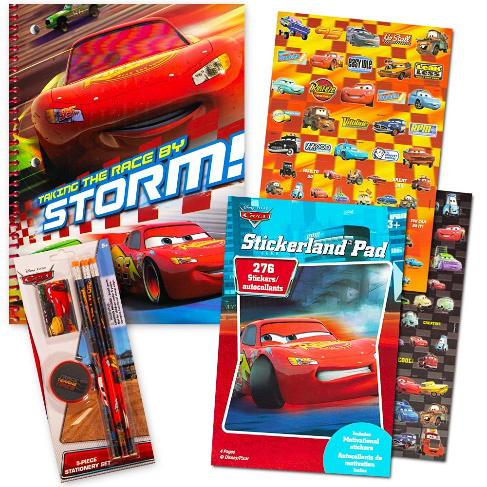 Disney Cars School Supplies Value Pack -- Pencils, Notebook, Stickers, Eraser, Pencil Sharpener