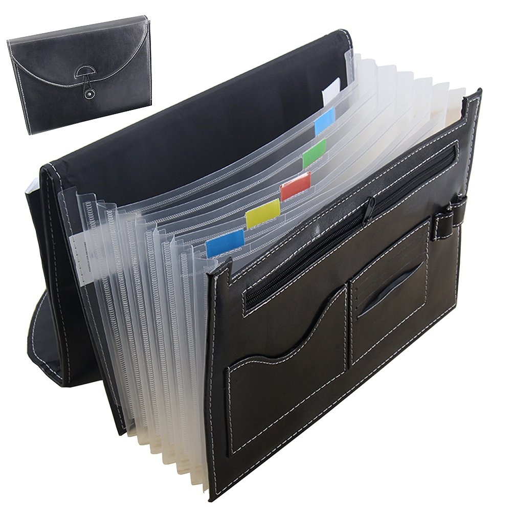 Oak-Pine Multifunction Expandable Portable Accordion A4 File Folder Document Wallet Briefcase PU Leather Business File Organizer Bag 7 Pockets with Pen Holder and Card Slot