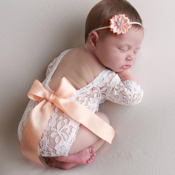 Baby Lace Romper Photo Props Newborn Romper with Bow Headband