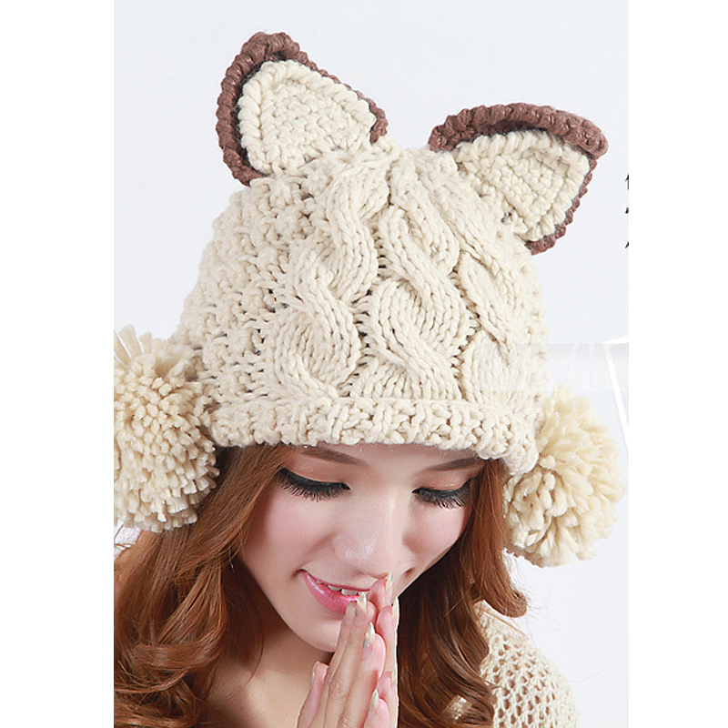 d4a47795651 Get Quotations · Fashion russian bombers winter hats for women hand-knitted  wool gorras warm caplovely tiger ear