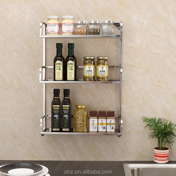 3 Tier Stainless Steel Wall Hanging Or Table Top Kitchen Storage